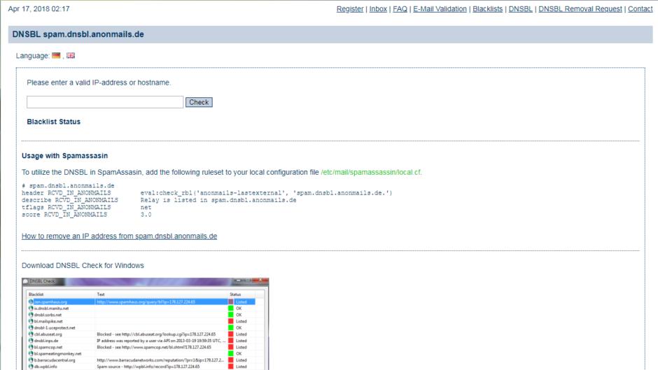 DNSBL spam.dnsbl.anonmails.de
